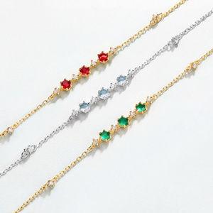 Garnet/blue topaz/green agate silver bracelet
